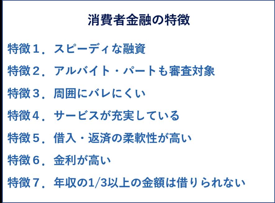 消費者金融の7つの特徴