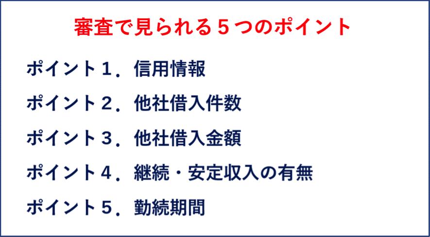 審査で見られる5つのポイント